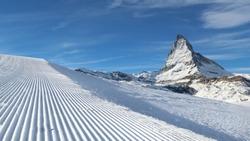 Ski runs in Zermatt, Switzerland. The Matterhorn. Well preparded ski runs with good snow conditions.