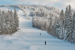 Ski slope and snovy white trees on winter mountains. Russia, Ural. Background