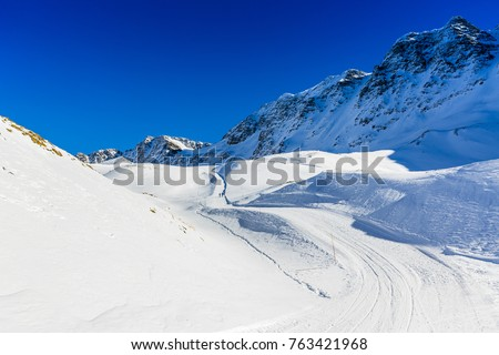 Ski slopes and ski touring trails in the Italian Alps.