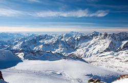 Ski slopes on the Matterhorn, view from the Klein Matterhorn