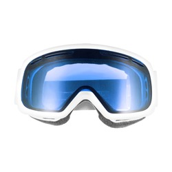 Ski Snowboard Goggles Isolated on White Background. Front View of White and Blue Ski Glasses. Skiing Snow Goggles. Modern Sports Unisex Eyewear. Snowboarding Protective Gear
