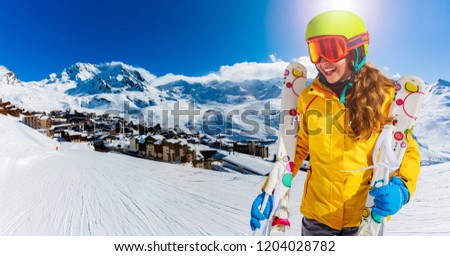 Ski teenager sport having fun on winter vacation on the slope, Val Thorens, 3 Valleys, France.