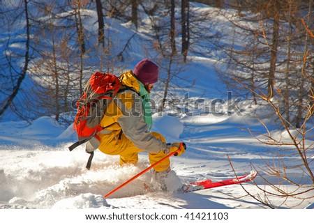 Ski touring, Alps, Italy.