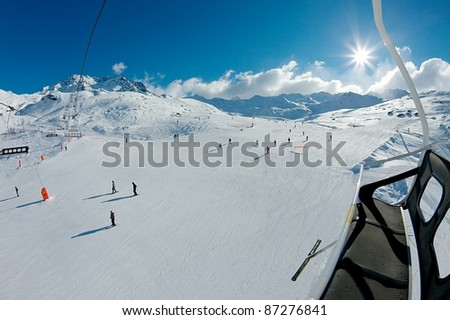 Ski track viewed from the chairlift