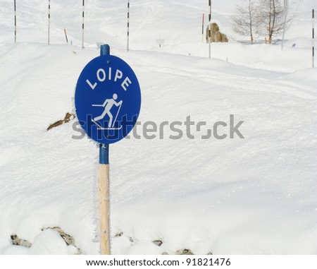 Ski trail - sign in the Austrian Alps