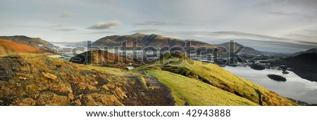 Skiddaw from Cat Bells on a frosty winter morning in the English Lake District