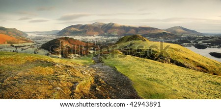 Skiddaw from Cat Bells on a frosty winter morning in the English Lake District - Shutterstock ID 42943891