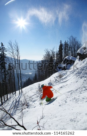 Skier during free ride  in high mountain