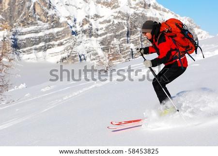 Skier freerider - stock photo