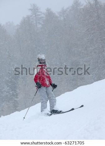 Skier in a heavy snow storm