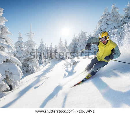 Skier in freeride - stock photo