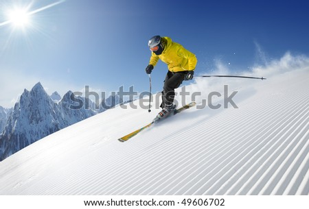 Skier in hight mountains