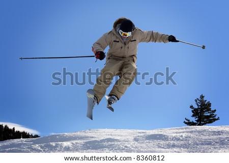 Skier jumping at Lake Tahoe, California resort