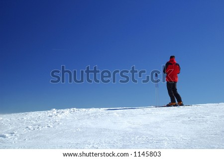 Skier on a ridge