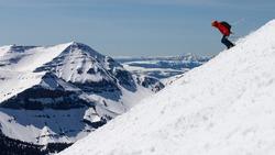 Skier on the back side of Big Sky Montana resort.
