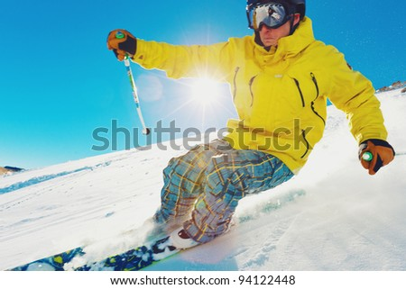 Skier Racing Down the Mountain, with Motion Blur