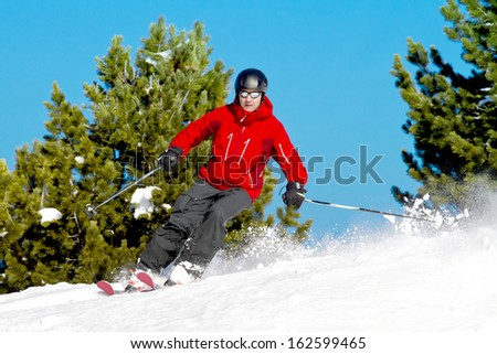 Skier rides back country between fir trees