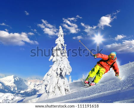 Skier skiing downhill in high mountains #111191618