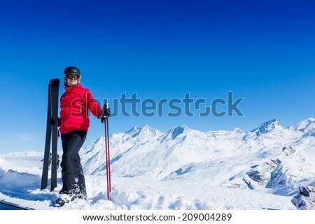 Skier, skiing, winter sport - portrait of male skier