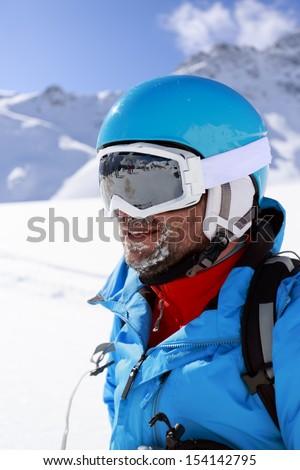 Skier skiing winter sport portrait of skier