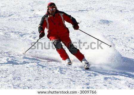 skier slide down on hill
