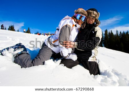 Skiers smile for the camera