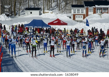 skiers waiting for the departure of  a cross-country marathon