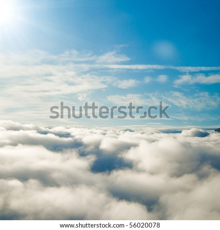 Skies From a Plane Far Above - stock photo