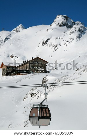 Skiing area in the Alps - stock photo