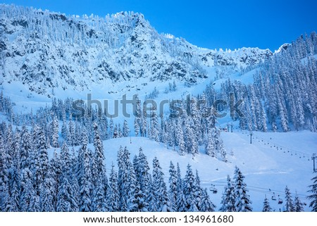Skiing Chairlifts on Snow Mountain at Snoqualme Pass Washington.