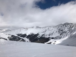 skiing in Arapahoe Basin in Colorado, mountains, winter, snow