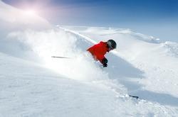 Skiing in fresh powder