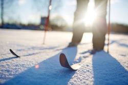 Skiing in snowdrift