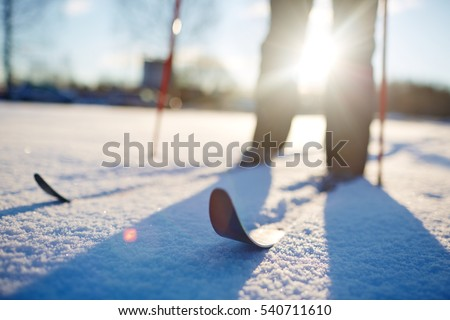 Skiing in snowdrift