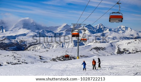 Skiing in the Canadian Rockies near Banff, Alberta