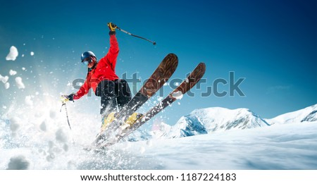 Skiing. Jumping skier. Extreme winter sports. #1187224183