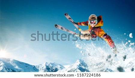 Skiing. Jumping skier. Extreme winter sports. #1187224186
