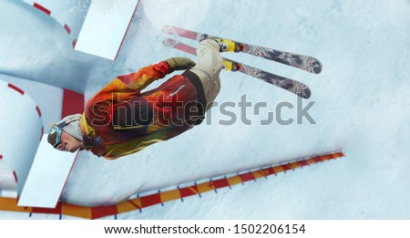 Skiing. Jumping skier. Extreme winter sports. #1502206154
