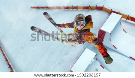 Skiing. Jumping skier. Extreme winter sports. #1502206157
