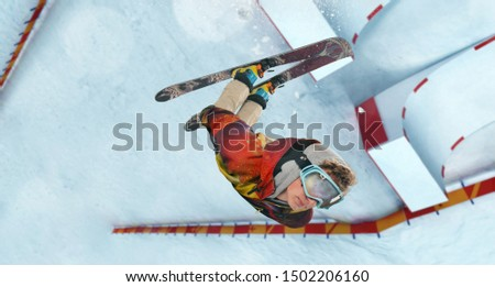 Skiing. Jumping skier. Extreme winter sports. #1502206160