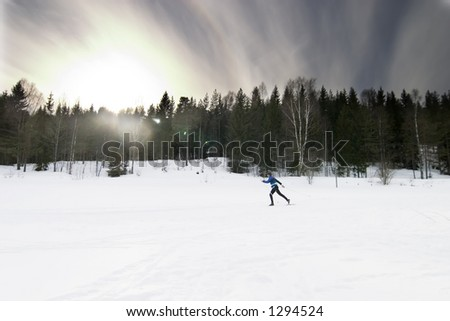 Skiing on a bright sunny day.  A winter landscape looking into the sun with lens flare.