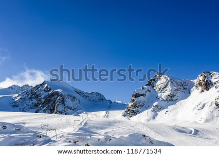 Skiing on a glacier