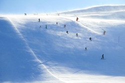 skiing on a windy day at Trysil, Norway