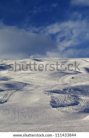 Skiing piste in evening. Caucasus Mountains, Georgia, ski resort Gudauri