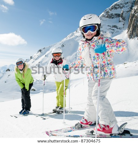 Skiing - portrait of female skiers