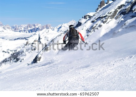 Skiing scene in italy - stock photo
