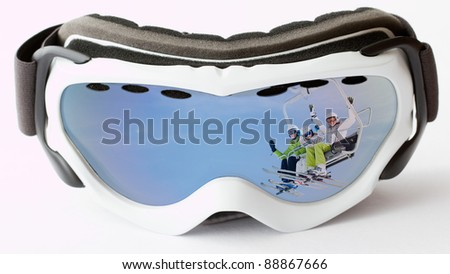 Skiing, ski lift -  reflection of the skiers on ski vacation
