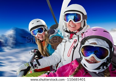 Skiing, ski lift, winter - skiers on ski lift