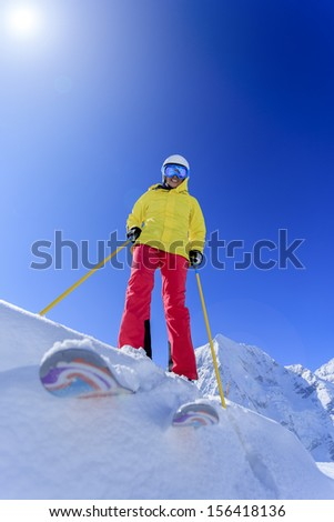 Skiing, skier, winter sports - portrait of female skier
