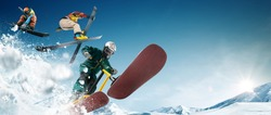 Skiing. Snow scoot. Snowboarding.  Extreme winter sports.